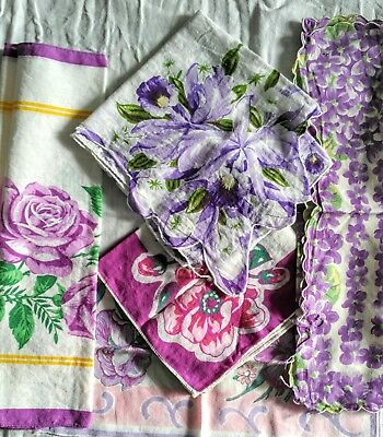 Lot Of 5 Vintage Cotton Hankies Handkerchiefs Lavender Florals