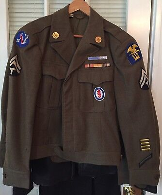 WWII Army Ike Jacket Army Pacific And Amphibious Forces EIB Ribbons 38R