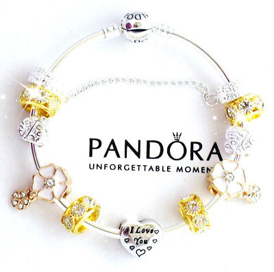 """Authentic Pandora Bracelet Silver with """"Love Story"""" Valentine European Charms"""
