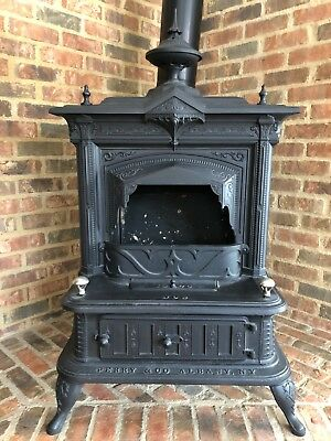 1878 Victorian Antique Cast Iron Wood Burning Parlor Stove--Perry & Co.