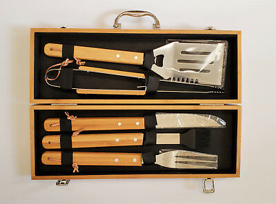 Guiness Lager BBQ Grill Tools, Set of 5 Utensils with Wooden Case, New