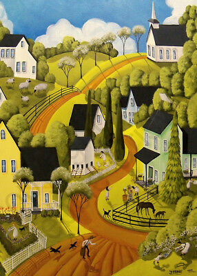 Spring flowers landscape cat dog horse sheep Giclee ACEO print folk art Criswell