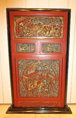 PleaseAntique Chinese Massive & Intricately Carved Gold Gilt Wood Panel Wall Art