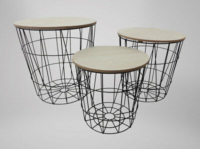 Set of 3 Industrial Scandi Style Metal Nesting Tables / Side tables