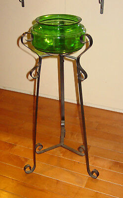 Vintage 1950s W.I. Wrought Iron Stand w/ Anchor Hocking Forest Green Fish Bowl