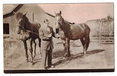 Antique 1910 Rppc Real Photo Proud Man Shows Of His Two Horses