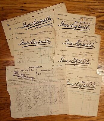 Group Lot 7 RARE Quaker City Watch Company Receipts Dueber-Hampden