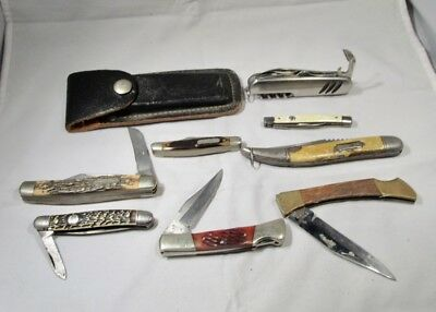 Lot of 8 Vintage Pocket Knives & 1 Knife Case  K1003