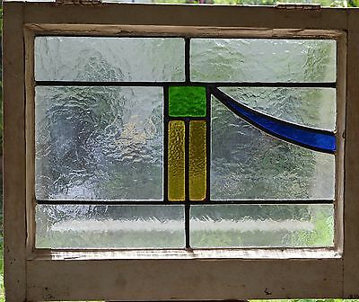 Antique Leaded English Stained Glass Window Wood Frame England Old House 37