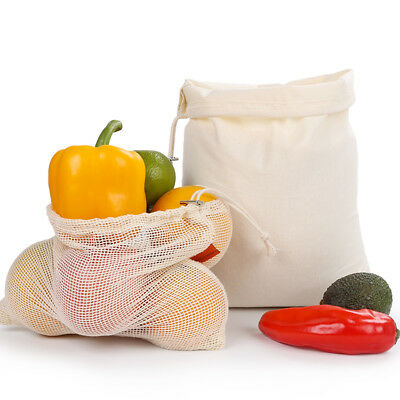 NEW Cotton Mesh Produce Bags Grocery Fruit Storage Shopping String Bag Reusable