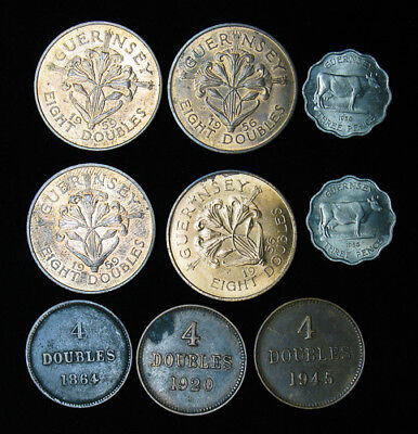 Collection of 9 Guernsey 4, 8 Doubles, Three 3 Pence 1864-1959 Nice Lot!