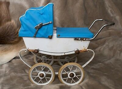 Vintage Miniature Pram RED Made in France Bedding Rare Miniature Doll Accessory
