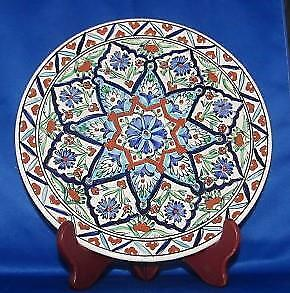 Icaros Pottery Hand Made Rhodes Greece A/ 833 Geometric Floral Design Wall Plate