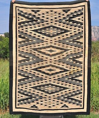 Tightly Woven Two Grey Hills Eyedazzler Navajo Indian Rug Greys Tans Black White