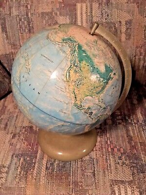 Vintage Rand McNally World Portrait Globe Made in USA Mid Century Homeschool