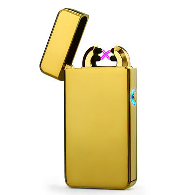 Dual Arc Electric Flameless Windproof USB Rechargeable Cigarette Lighter Golden