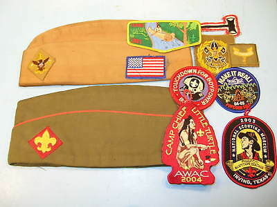 LOT of 2 BOY SCOUTS of AMERICA BSA GARRISON HATS + 10 PATCHES