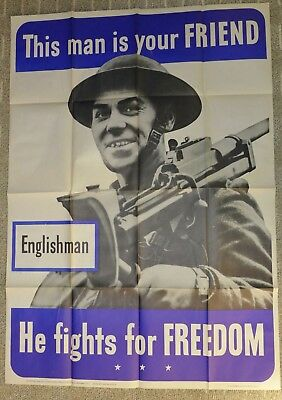 Original WWII Poster This man is your FRIEND Englishman He fights for FREEDOM