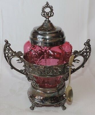 Victorian Cranberry Glass Sugar Bowl in Silverplated Holder w. Spoon Holders