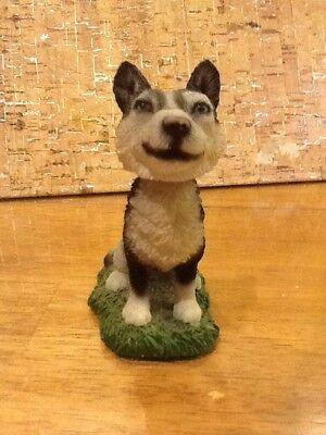 "Husky Ceramic Figurine Bobble Head 3-1/2"" Tall"
