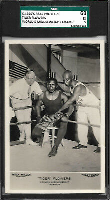TIGER FLOWERS 1920's Real Photo Boxing Postcard - SGC 60 HIGHEST GRADED POP 1