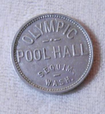 Vintage Good For 5 Cents Billiards Token - Olympic Pool Hall - Sequim, WA