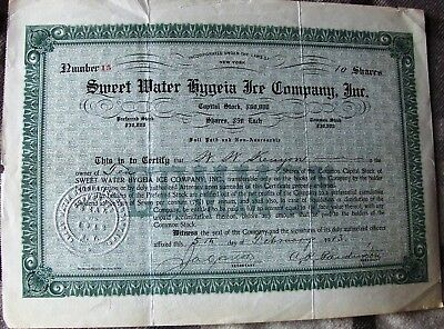 Stock certificate Sweet Water Hygeia Ice Company 1913 State of Ney York