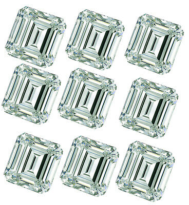 4.44ct VVS1-9pc-0.30-0.80ct=ICE BLUE COLOR LOOSE EMERALD REAL MOISSANITE/ring