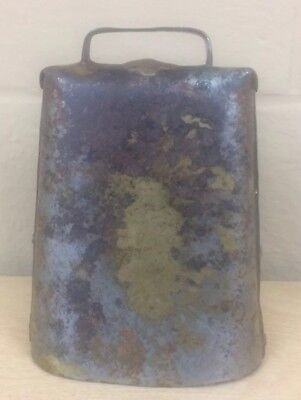 "Vintage Primitive Metal Farm Large Cow Bell Rustic Farmhouse 7""x5.25"" Tall Loud"
