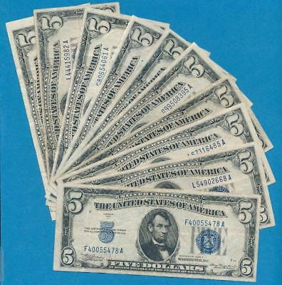 10-$5.00 1934 Mixed Blue Seal Silver Certificate Very Fine  Dealers Lot