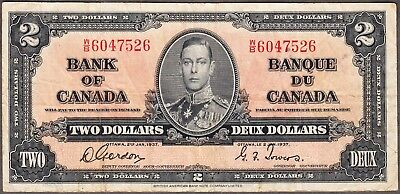 1937 Bank of Canada - $2.00 Bank Note - Very Fine - Gordon Towers W/B 6047526