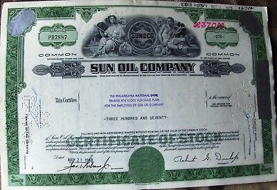 Stock certificate Sun Oil Company 1970 Sunoco. State of New Jersey
