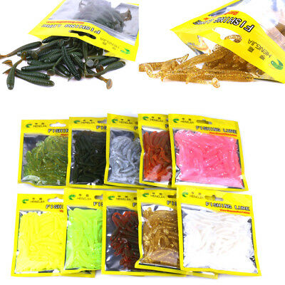 50x Curly Tail Grub Worm Mixed Soft Plastic Lure Fishing Tackle Bait Jig Head