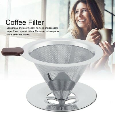 Stainless Steel Coffee Filter Funnel Coffee Tea Strainer Dripper with Cup Stand