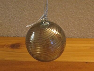 LBK Studio Hand Blown Recycled Glass Ball Christmas Ornament w/ Swirl Design New