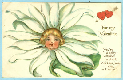 """2nd of 3 Vintage, """"For my Valentine"""", Pretty Child's Face in a Daisy Bloom..."""