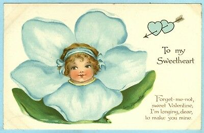 """3rd of 3 Vintage, """"To my Sweetheart"""", Pretty Child's Face in a Forget-me-not..."""