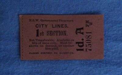 Very Old Pink NSW Tram Ticket
