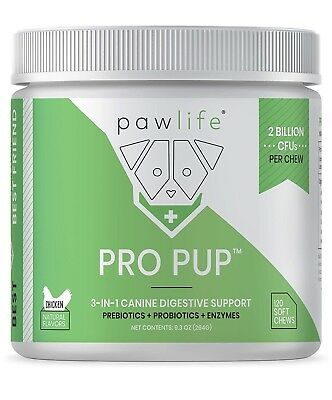 Paw Life Pro Pup Prebiotic + Probiotic + Enzymes 2 Billion CFU's 120 Chewable's