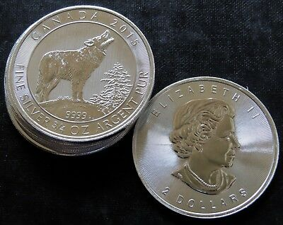 Lot Of 5 - 2015 3/4 Oz Silver Canadian Grey Wolf Bu .9999 Fine
