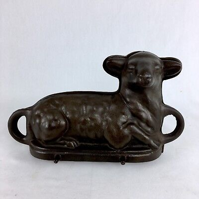 RARE! Vintage CAST IRON EASTER LAMB CAKE MOLD PANS Old Version LEG FORWARD!!!
