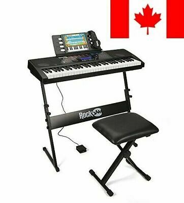 RockJam RJ761-SK Key Electronic Interactive Teaching Piano Keyboard with Stan...