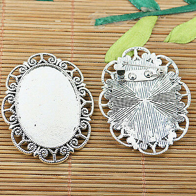 2pcs Tibetan silver plated flower oval cabochon settings EF2065