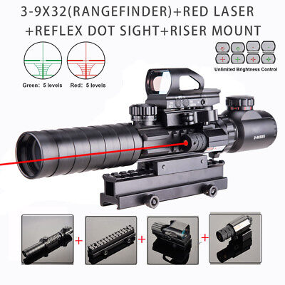 3-9x32EG Rangefinder Retice Rifle Scope w/Riser Mount Red laser Sight &Dot Sight