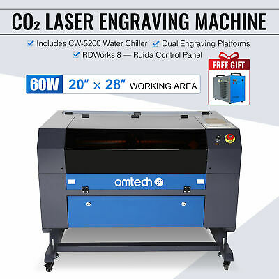 50W CO2 LASER Engraving Machine Engraver Cutter with Auxiliary Rotary 20*12