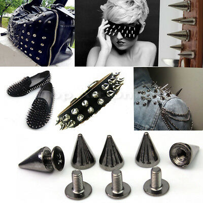 100x Gun Black Punk Spike Rivet Screw Bead DIY Metal Cone Studs Nailhead Spots