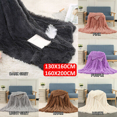 MECO Large Luxury Faux Fur Long Pile Throw Sofa Bed Soft Warm Blanket Shaggy