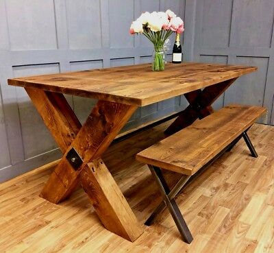 Industrial Dining Table Rustic Farmhouse Vintage Reclaimed Dining Table & Bench