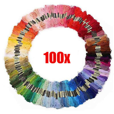 100 Skeins Embroidery Thread Cotton Embroidery Floss for Cross Stitch Braiding