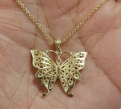 14k Yellow Gold 925 Sterling Silver Butterfly Charm Pendant  Chain Necklace
